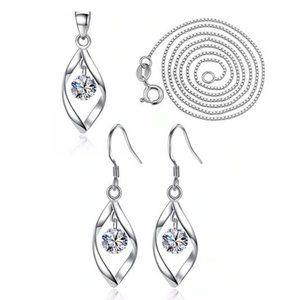 NEW [Set of 2] Sterling Silver Diamond Waterdrop B